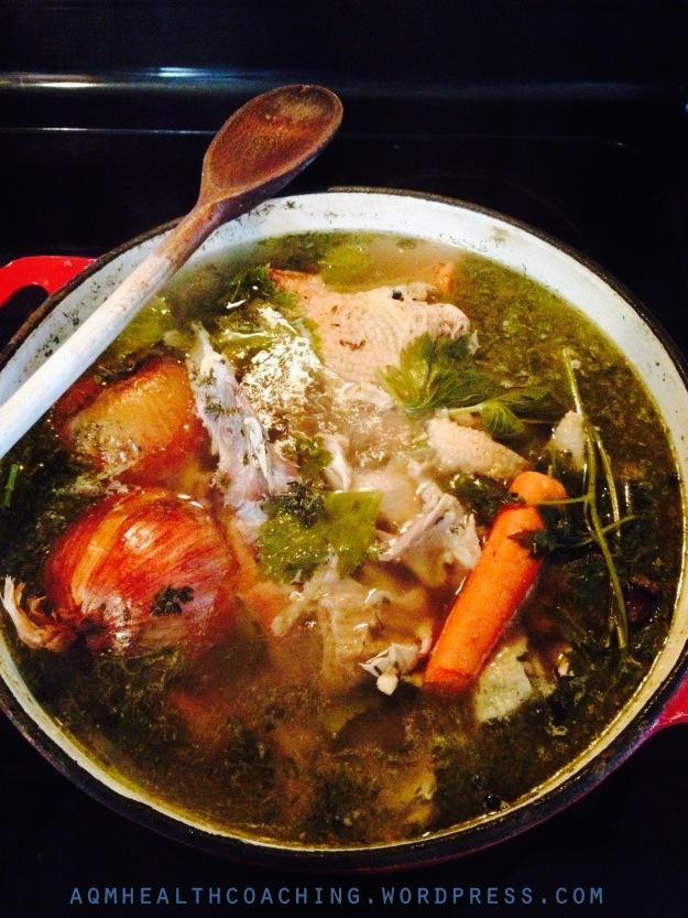 Homemade chicken broth!