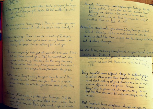 These pictures are actual snapshots from these old journals - that is my horrendous handwriting (good luck reading that!).  I'm feeling a bit shy of exposing this part of myself (long long time ago but still).  No one gets to read my journals.  They need to be burned when I die! haha!