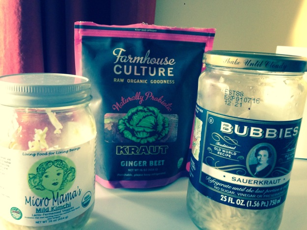 A few of the fermented foods in my fridge.