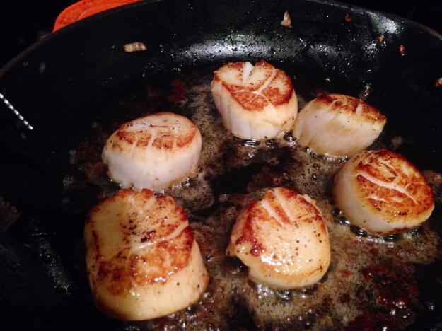 Sear the scallops for 2-3 minutes on each side.