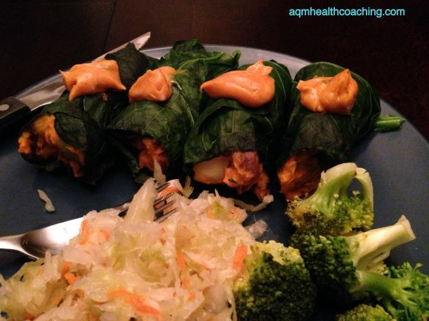 Collard rolls (with random kimchi and broccoli making an appearance).