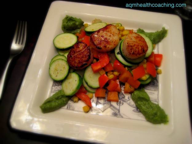 Pan seared scallops with Corn Salad and Avocado Sauce