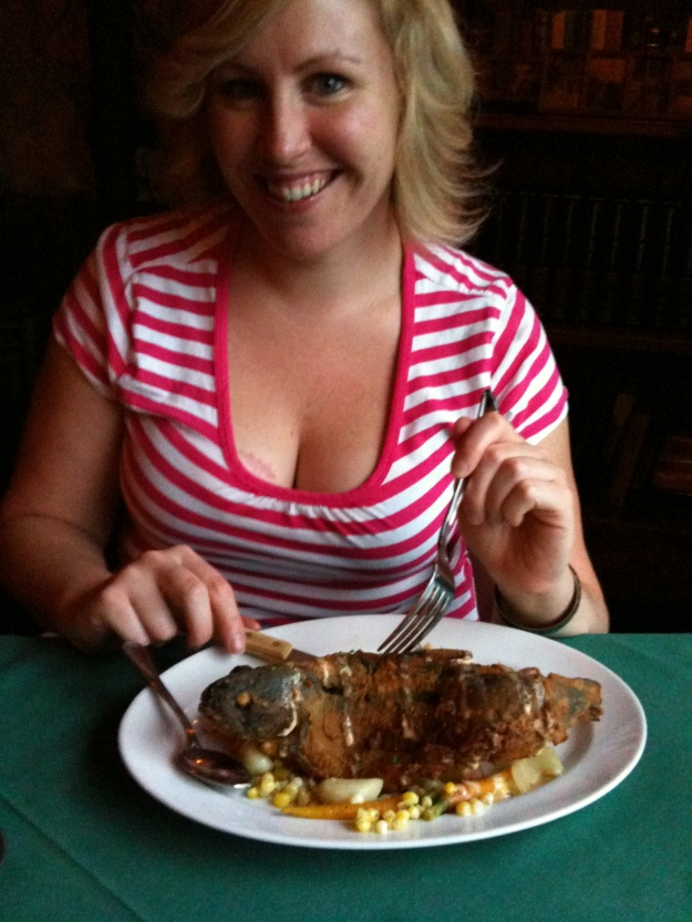 Eating Whole Fried Trout at The Loon Lodge in Rangeley, Maine. Don't worry, I didn't eat the head.